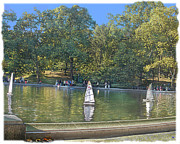 Pond In Park Prints - Central Park Sailboat Pond Print by Muriel Levison Goodwin