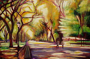 Benches Paintings - Central Park by Sheila Diemert
