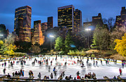 Ice Rink Posters - Central Park Skaters 2013 Poster by June Marie Sobrito