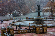Bethesda Terrace Prints - Central Park Snow Storm Print by Chris Lord