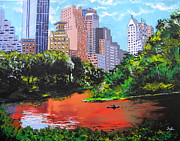 Canoe Mixed Media Originals - Central Park by Steven Kuc