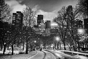 Snow Falling Prints - Central Park View Print by John Farnan