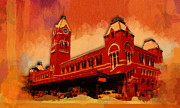 City Scapes Greeting Cards Prints - Central Railway Station Print by Siron Jee