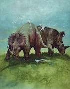 Centrosaurus Dinosaurs Grazing Print by World Art Prints And Designs