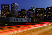 Blurred Framed Prints - Century City Skyline at Night Framed Print by Paul Velgos