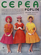 Nineteen-fifties Posters - Cepea Poplin 1959 1950s Uk Womens Poster by The Advertising Archives