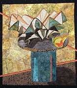 Still Life Tapestries Textiles Posters - Ceramic Bowl and Pear Poster by Lynda K Boardman