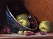 Grapes Paintings - Ceramic Bowl with Apples by Timothy Jones