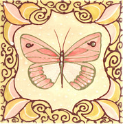 Animals Ceramics Posters - Ceramic Butterfly 2 Poster by Anna Skaradzinska