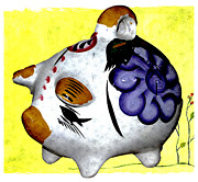Room Ceramics Prints - Ceramic Piggy Bank Print by Jennifer Muller