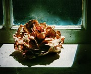 Floral Ceramics - Ceramic Rose in Studio Window by Joan-Violet Stretch
