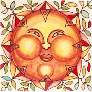 Featured Ceramics Framed Prints - Ceramic Sun 2 Framed Print by Anna Skaradzinska