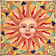 Patterns Ceramics Prints - Ceramic Sun Print by Anna Skaradzinska