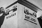 Ceramic Tile Prints - ceramic tile street nameplates in Cambrils Catalonia Spain Print by Joe Fox