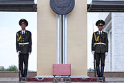 Kyrgyzstan Photos - Ceremonial soldiers in Bishkek Kyrgyzstan  by Robert Preston