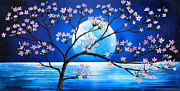 Sakura Paintings - Cerezo at moon by Angel Ortiz