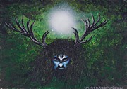 Warrior Goddess Paintings - Cernunnos by Stacey Austin