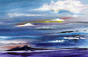 Sunrise Over Water Paintings - Cerulean Skies over the Great Salt Lake by Jane Autry