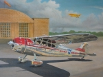 Plane Painting Framed Prints - Cessna 195 Framed Print by Stuart Swartz