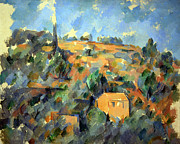 Houses On A Hill Posters - Cezannes Houses On A Hill In Provence Poster by Cora Wandel