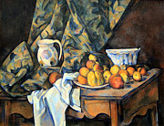 Still-life With Peaches Posters - Cezannes Still Life With Apples And Peaches Poster by Cora Wandel