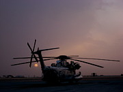 Afghanistan Photos - CH-53 at sunset in Afghanistan by Jetson Nguyen