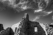 Native Architecture Posters - Chaco Canyon Pueblo Bonito Monochrome Poster by Bob Christopher