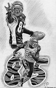 Pro Football Drawings Posters - Chad Johnson Poster by Jonathan Tooley