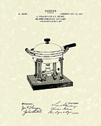 1907 Drawings Framed Prints - Chafing Dish 1907 Patent Art Framed Print by Prior Art Design