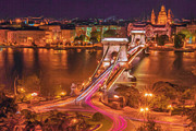 Night Lamp Prints - Chain Bridge Print by A Tw
