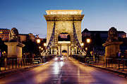 Traffic Lights Photos - Chain Bridge in Budapest at Night by Artur Bogacki