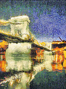 Travel Destinations Paintings - Chain bridge in Budapest by Odon Czintos