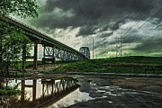 Storm Clouds Pyrography Posters - Chain O Rocks Canal Bridge Poster by Vor Spicer