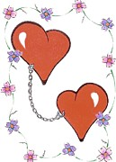 Chained Drawings Prints - Chained Hearts Print by Glenn Strickland