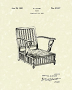 Relaxing Drawings Posters - Chair 1932 Patent Art Poster by Prior Art Design