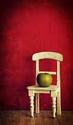 Chair Photo Metal Prints - Chair Apple Red Still Life Metal Print by Edward Fielding