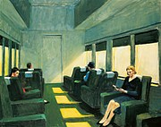 Train Car Posters - Chair Car Poster by Edward Hopper