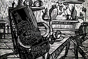 Lino Print Drawings - CHAIR OF MY DREAM final stage  by Charlie Spear
