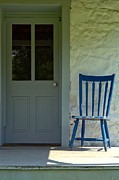Front Porch Posters - Chair on Farmhouse Porch Poster by Olivier Le Queinec