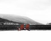 Chairs At Canandaigua Lake 2011 Print by Joseph Duba