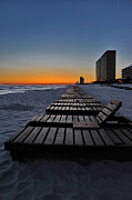 Panama City Beach Framed Prints - Chairs At Sunset Framed Print by Ron Weathers