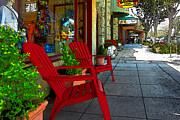 Calistoga Digital Art Prints - Chairs On A Sidewalk Print by James Eddy