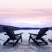 Adirondack Lake Prints - Chairs on lake dock Print by Elena Elisseeva