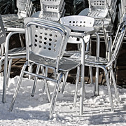 Metal Sheet Framed Prints - Chairs on Snow Framed Print by Cister Vengue