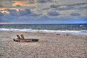 Beach Fence Digital Art Posters - Chairs on the Beach in Aug Poster by Michael Thomas