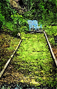John Haldane Prints - Chairs on the Tracks Print by John Haldane