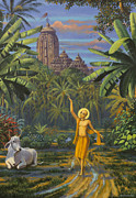 Devotional Paintings - Chaitanya Mahaprabhu in Jaganath Puri by Vrindavan Das