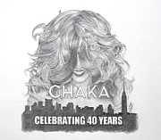 Celebrity Portraits Drawings Posters - Chaka 40 Years Poster by Joette Snyder
