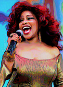 Microphone Digital Art Prints - Chaka Khan Print by Byron Fli Walker