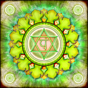 Meditation Digital Art Framed Prints - Chakra Anahata Series 2012 Framed Print by Dirk Czarnota